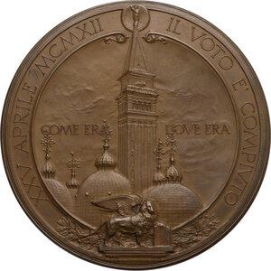 reverse: Medaglia 1912 per la riedificazione del campanile di San Marco a Venezia