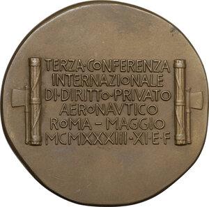 reverse: Medaglia A. XI, 1933 per la Terza Conferenza Internazionale di Diritto Privato Aeronautico di Roma