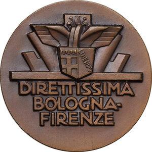 obverse: Medaglia XII Aprile 1934 A. XII per la Direttissima Bologna-Firenze