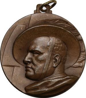 obverse: Benito Mussolini (1883-1945).. Medaglia Adunata Nazionale Bersaglieri, Milano 23-24 settembre A. XII