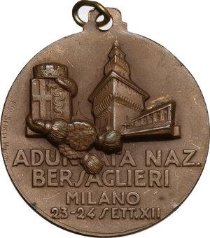 reverse: Benito Mussolini (1883-1945).. Medaglia Adunata Nazionale Bersaglieri, Milano 23-24 settembre A. XII