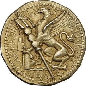 reverse: F.G.C.. Medaglia A. XIII per i Campionati Nazionali di Genova