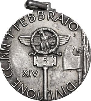 reverse: M.V.S.N.. Medaglia 5° Divisione CC NN, 1° Febbraio A. XIV