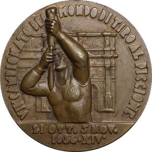 obverse: F.I.T.A.V./ C.O.N.I.. Medaglia A. XIV 1936 per il VII Campionato del Mondo di Tiro al Piccone