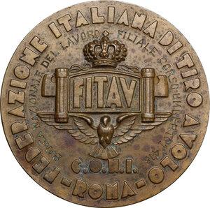 reverse: F.I.T.A.V./ C.O.N.I.. Medaglia A. XIV 1936 per il VII Campionato del Mondo di Tiro al Piccone