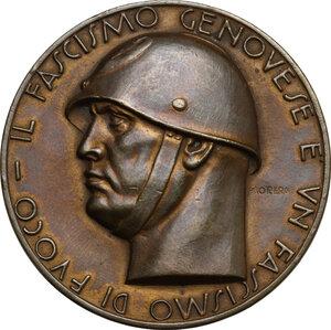 obverse: P.N.F.. Medaglia A. XVI, Federazione dei Fasci di Combattimento di Genova per le giornate del Duce a Genova a Conti Igino