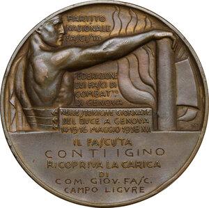 reverse: P.N.F.. Medaglia A. XVI, Federazione dei Fasci di Combattimento di Genova per le giornate del Duce a Genova a Conti Igino