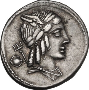 obverse: L. Julius Bursio. . AR Denarius, 85 BC