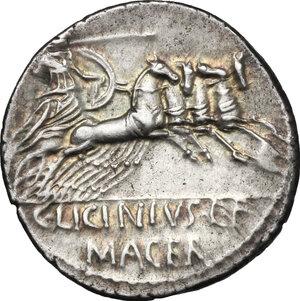 reverse: C. Licinius L.f. Macer. . AR Denarius, 84 BC