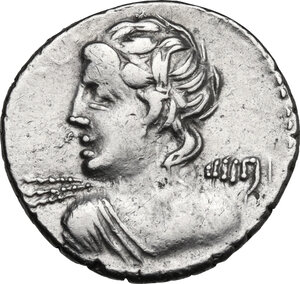 obverse: C. Licinius L.f. Macer. . AR Denarius, 84 BC