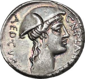 obverse: Cn. Plancius.. AR Denarius, 55 BC