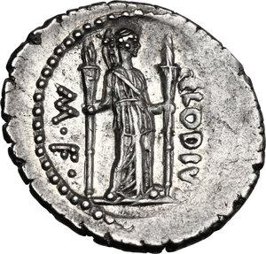 reverse: P. Clodius M.f. Turrinus.. AR Denarius, 42 BC