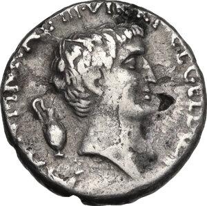 obverse: Mark Antony and Lucius Antony. Fourrèe Denarius, 41 BC