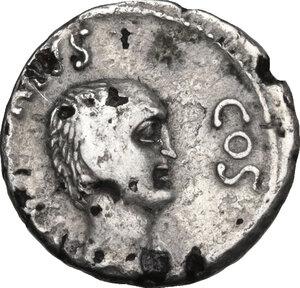 reverse: Mark Antony and Lucius Antony. Fourrèe Denarius, 41 BC