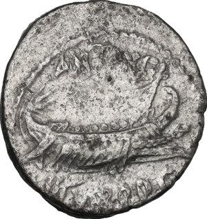 obverse: Mark Antony. AR Denarius, mint moving with M. Antony 32-31 BC