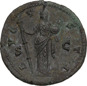 reverse: Diva Faustina I (after 141 AD).. AE Sestertius, c. 146-161 AD