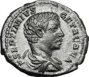 obverse: Geta as Caesar (198-209).. AR Denarius, 202 AD