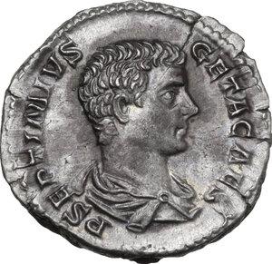 obverse: Geta as Caesar (198-209).. AR Denarius, 203-208 AD