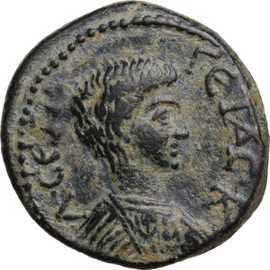 obverse: Geta as Caesar (198-209).. AE 22.5 mm. Hadrianopolis-Sebaste mint, Phrygia. Poteitos, archon