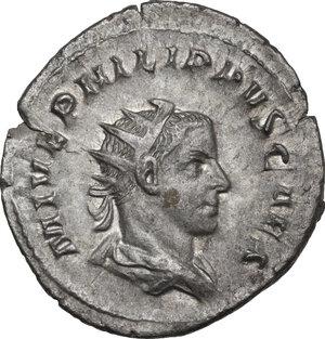 obverse: Philip II as Caesar (244-247).. AR Antoninianus, Rome mint