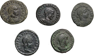 obverse: Roman Empire. . Constantine I and his sons. Multiple lot of five (5) unclassified AE Folles