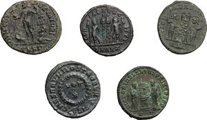 reverse: Roman Empire. . Constantine I and his sons. Multiple lot of five (5) unclassified AE Folles