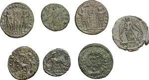 reverse: Roman Empire. Constantine the Great and his family.. Multiple lot of seven (7) unclassified AE 3, including Helena