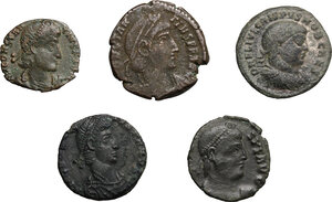 obverse: Roman Empire. The sons of Constantine I.. Multiple lot of five (5) unclassified AE Folles