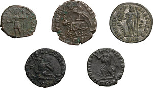 reverse: Roman Empire. The sons of Constantine I.. Multiple lot of five (5) unclassified AE Folles