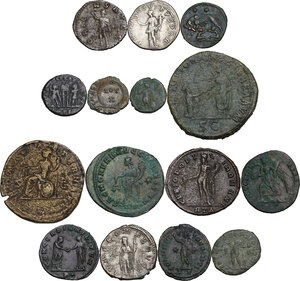 reverse: The Roman Empire.. Multiple lot of fifteen (15) unclassified coins