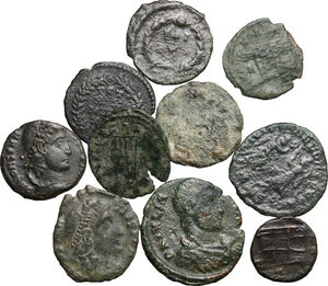 obverse: Roman Empire.. Multiple lot of ten (10) unclassified AE Denominations, mostly of 4th century