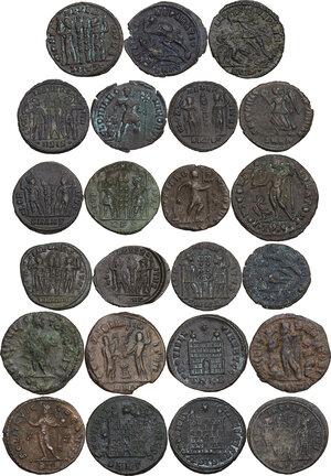 reverse: The Roman Empire.. Multiple lot of twenty-three (23) unclassified AE Follis, late Empire