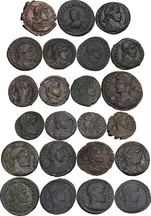 obverse: The Roman Empire.. Multiple lot of twenty-three (23) unclassified AE, late Empire