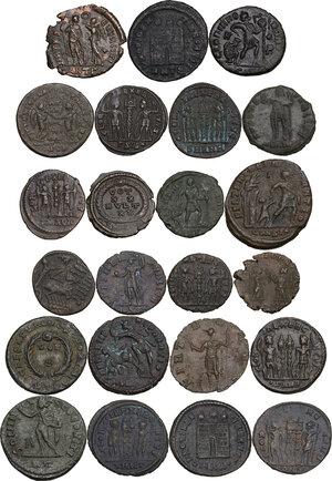 reverse: The Roman Empire.. Multiple lot of twenty-three (23) unclassified AE, late Empire