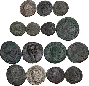 obverse: The Roman Empire.. Multiple lot of fifteen (15) unclassified coins, all AE but for AR Antoninianus of Philip I. Noted Athalaric Decanummium