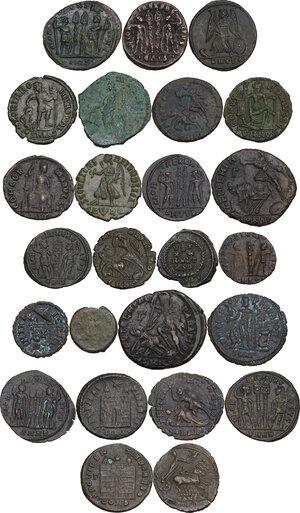 reverse: The Roman Empire.. Multiple lot of twenty-five (25) unclassified AE, late Empire