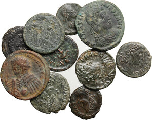 obverse: The Roman Empire.. Multiple lot of ten (10) unclassified AE Denominations, mostly of 4th century