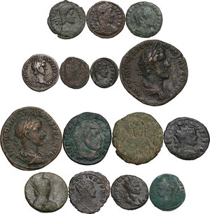 obverse: Roman Empire to Byzantine Empire.. Multiple lot of fifteen (15) unclassified coins, 14 AE and one AR Denarius of Nerva. Noted Ostrogothic Follis of Rome