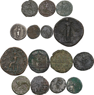 reverse: Roman Empire to Byzantine Empire.. Multiple lot of fifteen (15) unclassified coins, 14 AE and one AR Denarius of Nerva. Noted Ostrogothic Follis of Rome
