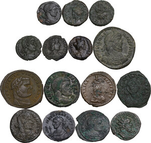 obverse: Roman Empire to Byzantine Empire.. Multiple lot of fifteen (15) unclassified coins. Noted Maiorina of Julian II and Ostrogothic AE of Ravenna