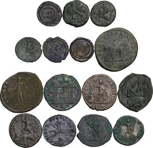 reverse: Roman Empire to Byzantine Empire.. Multiple lot of fifteen (15) unclassified coins. Noted Maiorina of Julian II and Ostrogothic AE of Ravenna