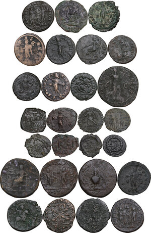 reverse: Roman Empire to Byzantine Empire.. Multiple lot of twentyseven (27) unclassified coins