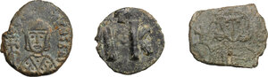 reverse: Byzantine Empire. Leo V (813-820) and Theophilus (829-842).. Multiple lot of three (3) AE Folles of Syracuse mint. Leo V, Sear 1635, Leo V, Sear 1636, Theophilus, Sear 1680