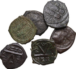 obverse: The Byzantine Empire.. Multiple lot of six (6) unclassified AE coins, mostly Half Folles