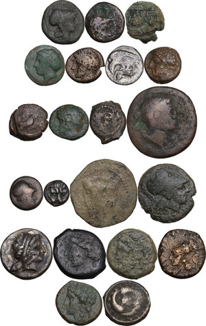 obverse: Miscellaneous. Multiple lot of twentyone (21) unclassified coins, mostly greek