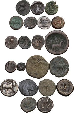 reverse: Miscellaneous. Multiple lot of twentyone (21) unclassified coins, mostly greek