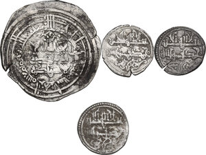 obverse: Lot of 4 (four) AR coins from al-Andalus, including (2) AR Dirhams of al-Hakam II and (2) AR Quirats of Ishaq ibn Alì