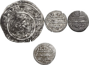reverse: Lot of 4 (four) AR coins from al-Andalus, including (2) AR Dirhams of al-Hakam II and (2) AR Quirats of Ishaq ibn Alì