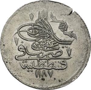 obverse: Ottoman Empire.  Mustafa III (1171-1187 AH / 1757-1774 AD). AR Piastre. Qustantiniyya mint, 1178 AH (1764)