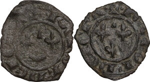 reverse: Brindisi.  Carlo I d Angiò (1266 -1282). Lotto di due (2) denari